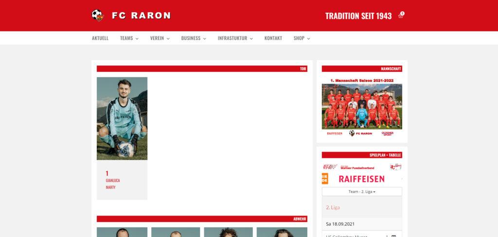 Webseite FC Raron im neuen Kleid